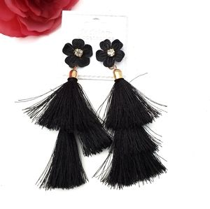 🐞Earings black rhineston tassel Pierced earings